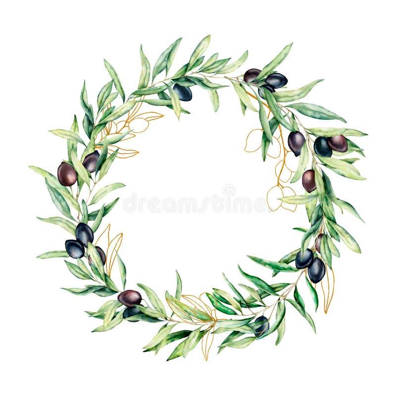 Corona dell'acquerello con le bacche verde oliva nere e dorate r illustrazione vettoriale