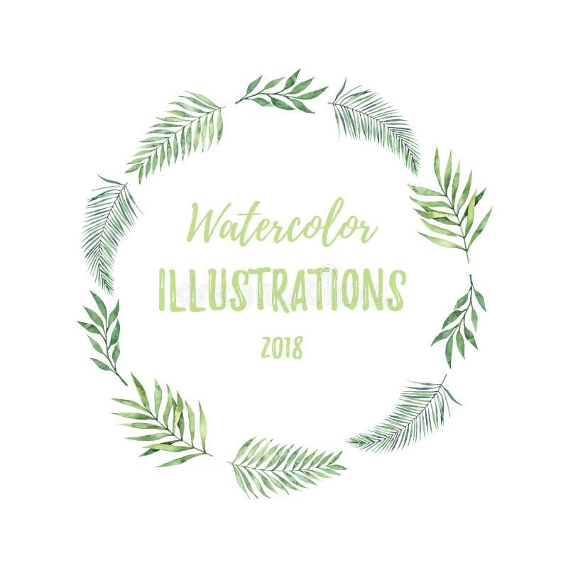 Corona dell'acquerello con le foglie verdi Elem tropicale di progettazione di estate illustrazione vettoriale
