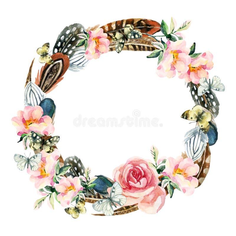Corona dell'acquerello con le piume di uccello, i fiori di rovo e la farfalla royalty illustrazione gratis
