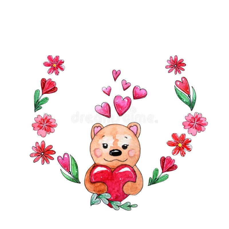 Corona dell'acquerello degli elementi per il San Valentino illustrazione vettoriale