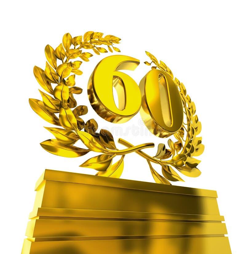 Corona dell'alloro con il numero 60 illustrazione vettoriale