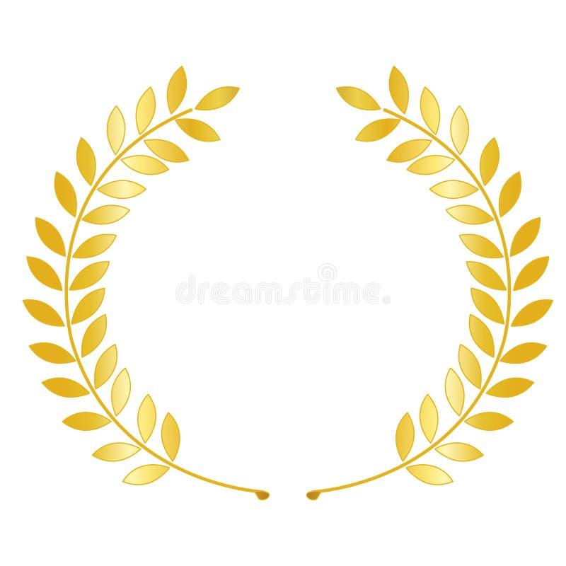 Corona dell'alloro dell'oro illustrazione di stock
