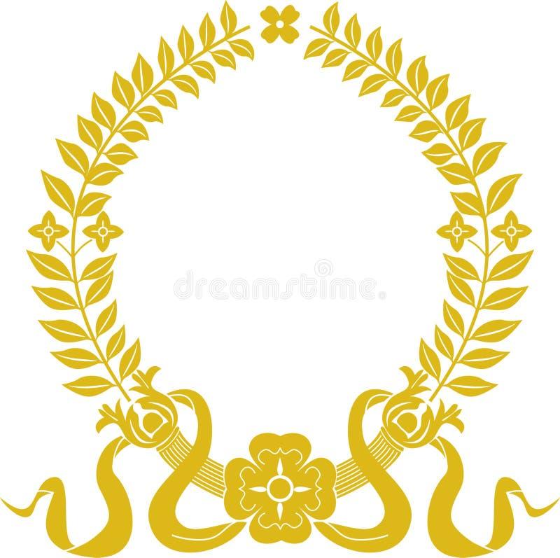 Corona dell'alloro dell'oro illustrazione vettoriale