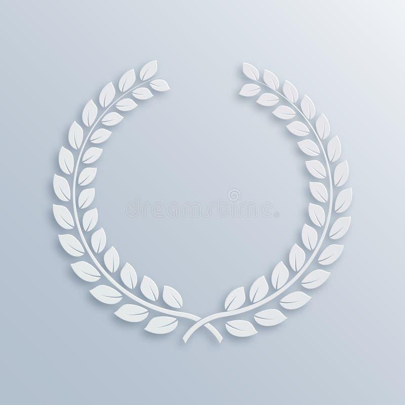 Corona dell'alloro Premio per i vincitori Simbolo della vittoria e dei risultati Illustrazione di vettore Elemento bianco di prog royalty illustrazione gratis