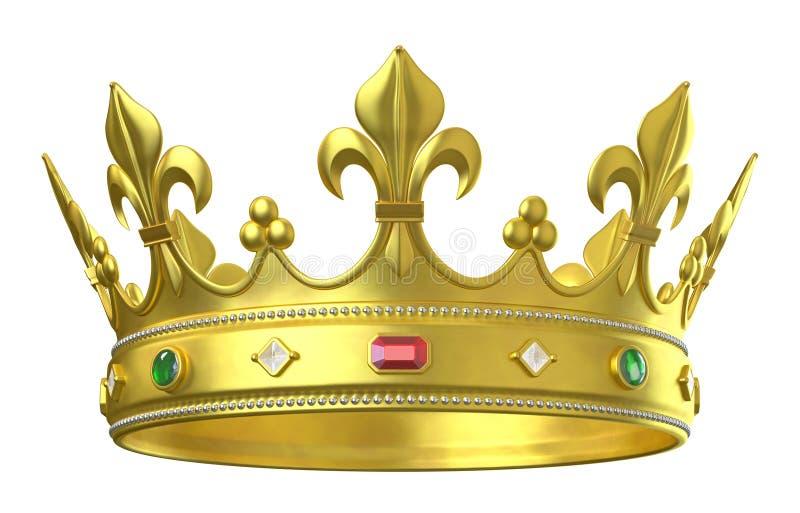 Corona dell'oro con i gioielli illustrazione vettoriale