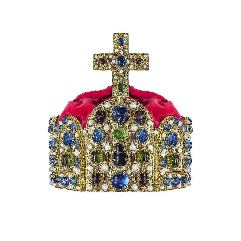 Corona dell'oro con i gioielli immagine stock