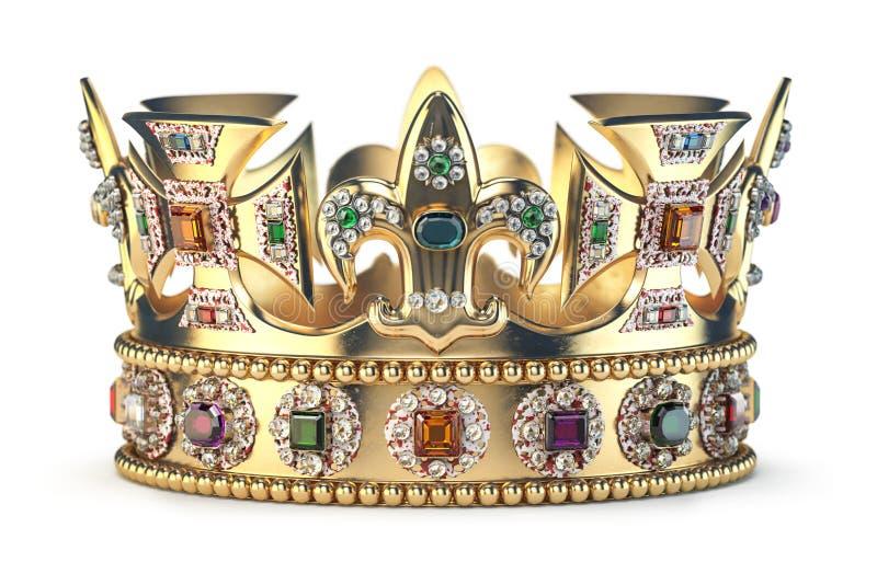 Corona dell'oro con i gioielli isolati su bianco illustrazione di stock