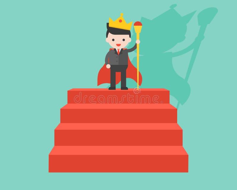 Corona dell'uomo d'affari e bacchetta d'uso di tenuta come re, supporto su rosso illustrazione di stock