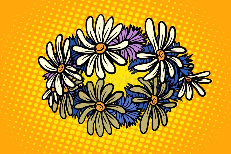 Corona della camomilla dei fiori selvaggi illustrazione di stock
