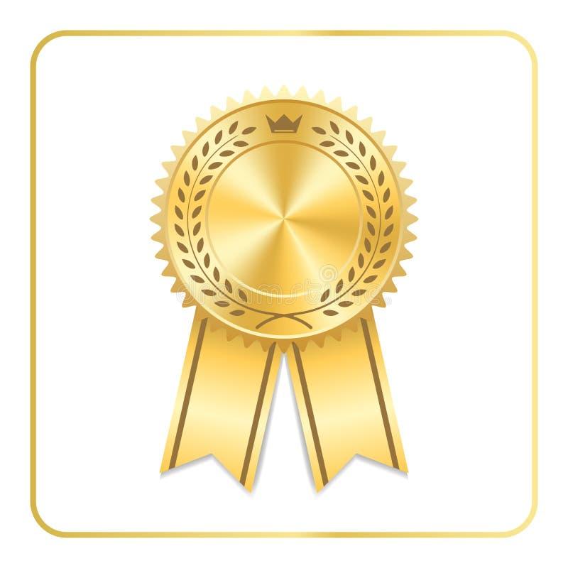 Corona della corona dell'alloro dell'icona dell'oro del nastro del premio illustrazione vettoriale