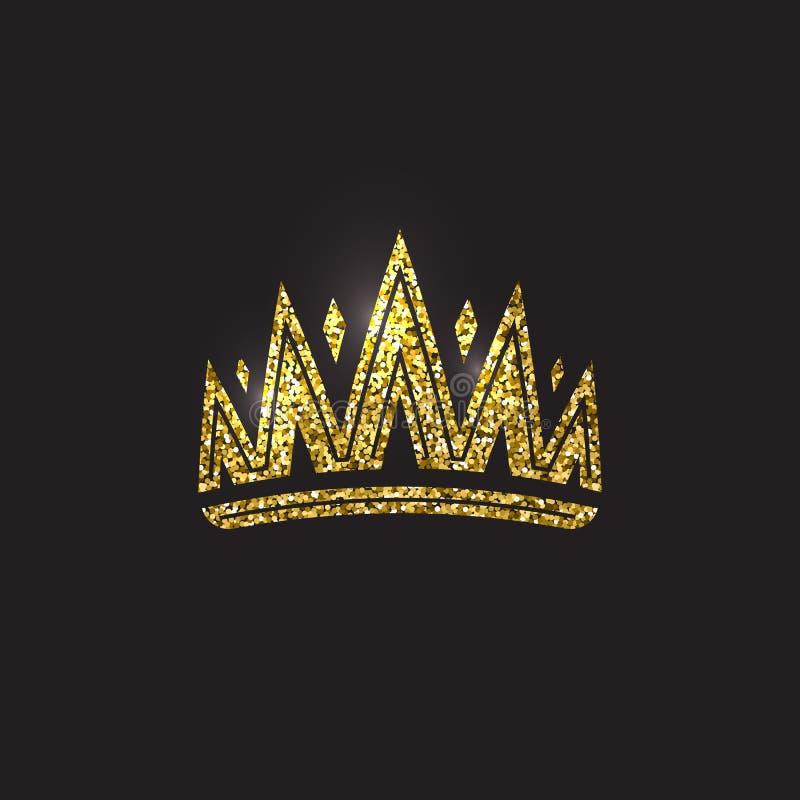 Corona della regina, copricapo reale dell'oro Accessorio dorato di re Illustrazioni isolate di vettore Simbolo della classe dell' illustrazione di stock