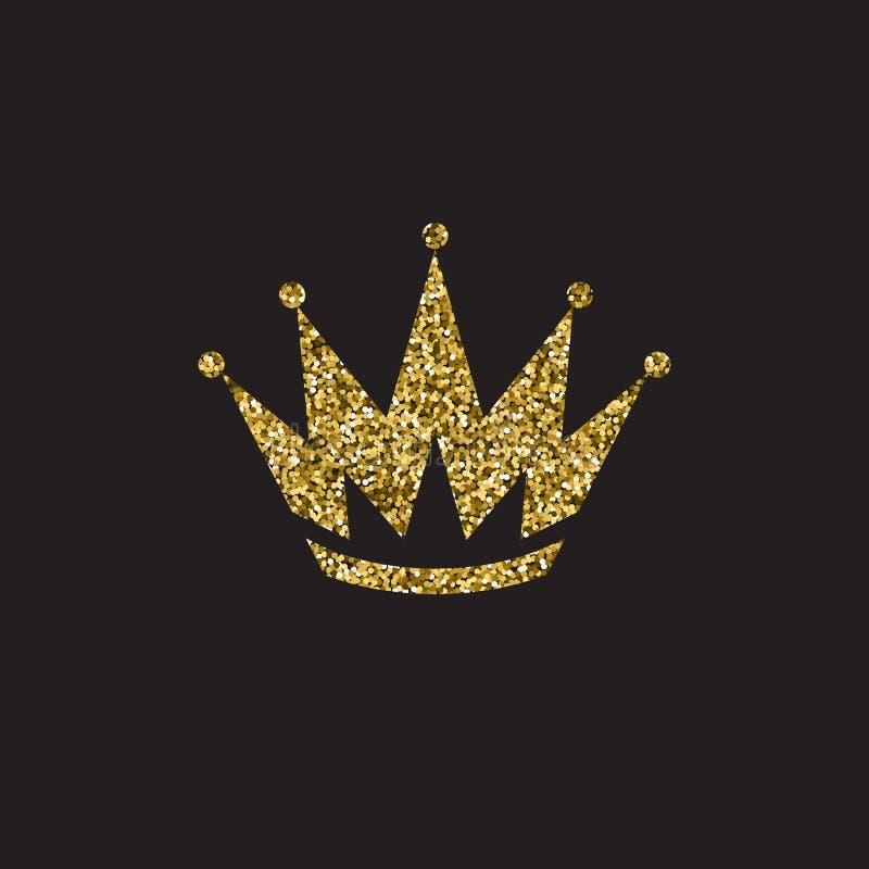 Corona della regina, copricapo reale dell'oro Accessorio dorato di re Illustrazioni isolate di vettore Simbolo della classe dell' royalty illustrazione gratis