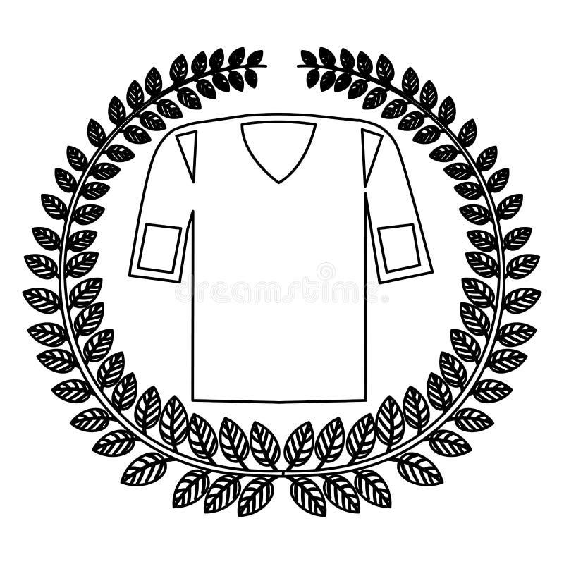 corona della siluetta delle foglie con l'uniforme di football americano della camicia illustrazione di stock