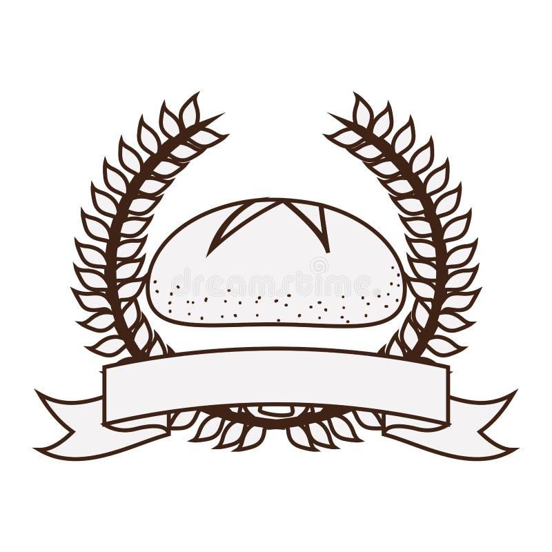 corona della siluetta delle foglie con nastro adesivo ed il pane dell'etichetta illustrazione di stock