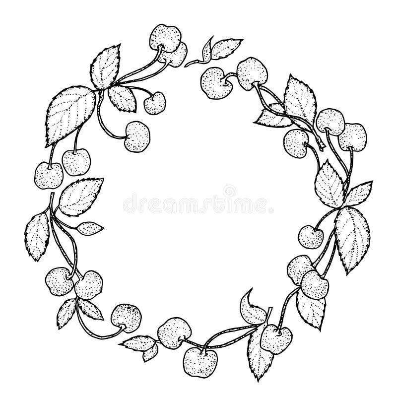 Corona delle bacche della ciliegia Ciliegia disegnata a mano messa su fondo d'annata illustrazione di stock