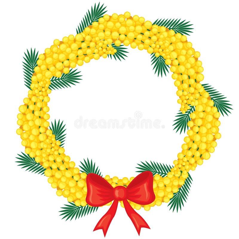 Corona delle mimose delle filiali illustrazione di stock