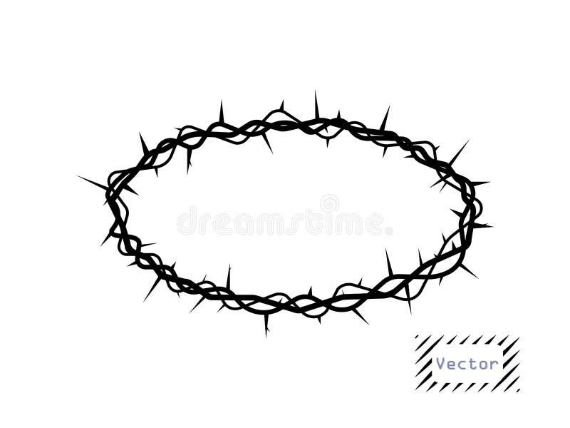 Corona delle spine, ovale di vettore Il simbolo di Christian Easter, la resurrezione L'elemento è isolato su un fondo leggero illustrazione di stock