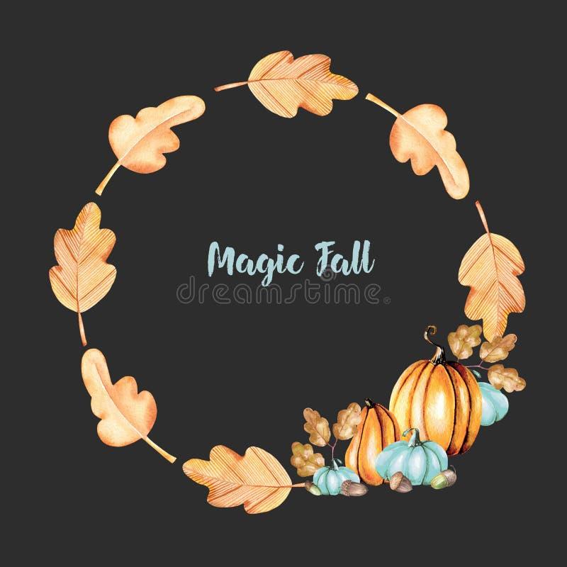 Corona di autunno con le zucche dell'acquerello, le ghiande e le foglie della quercia royalty illustrazione gratis