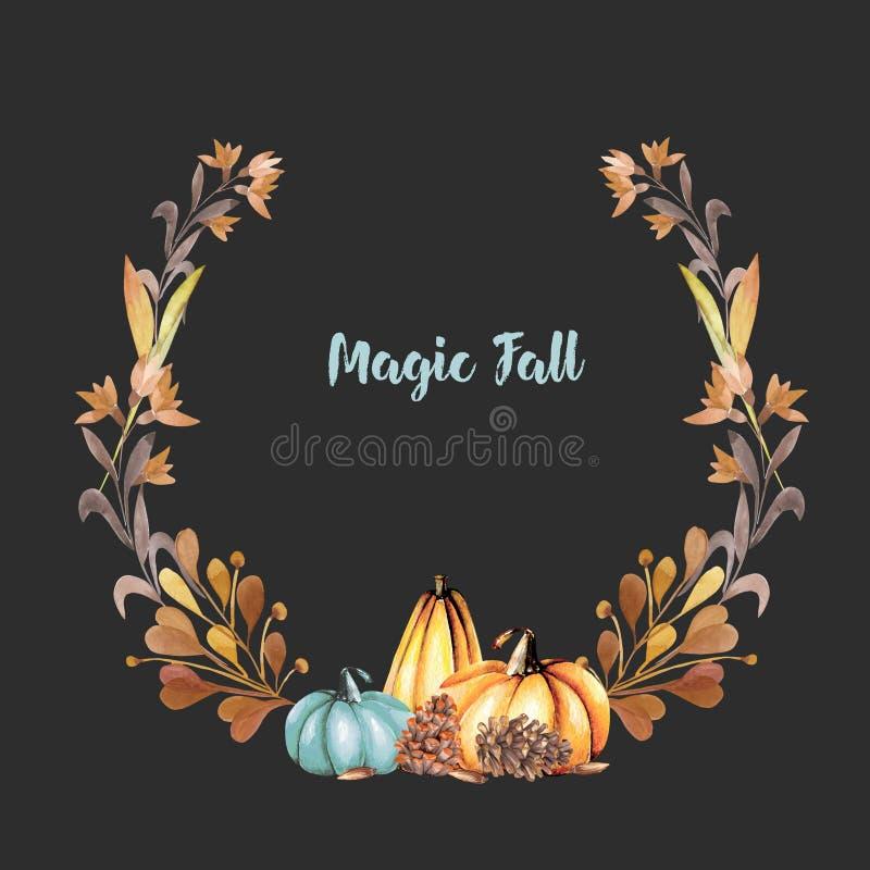 Corona di autunno con le zucche dell'acquerello, i fiori di caduta, i rami ed i coni di abete illustrazione vettoriale