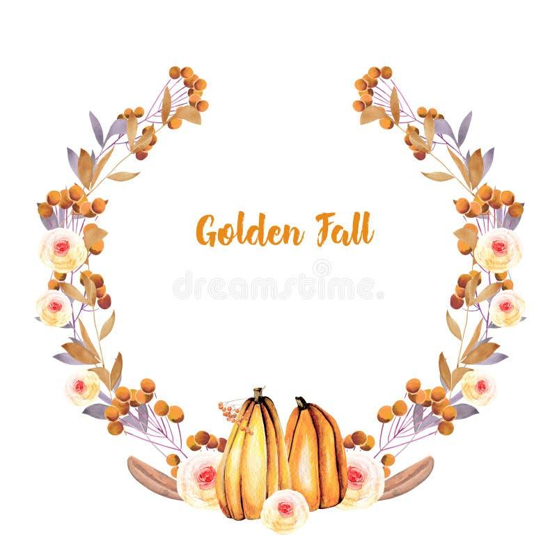Corona di autunno con le zucche dell'acquerello, i rami di albero, i fiori di caduta e le bacche royalty illustrazione gratis