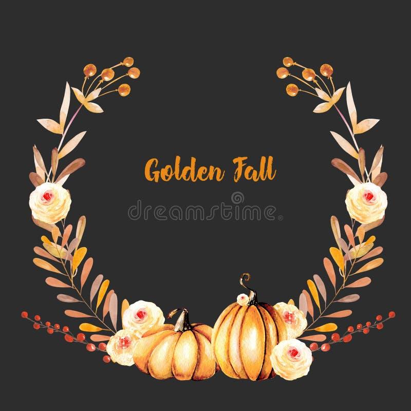 Corona di autunno con le zucche dell'acquerello, i rami di albero, i fiori di caduta e le bacche illustrazione di stock