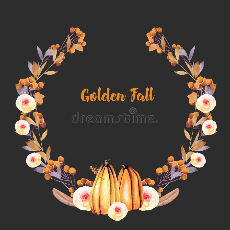 Corona di autunno con le zucche dell'acquerello, i rami di albero, i fiori di caduta e le bacche illustrazione vettoriale
