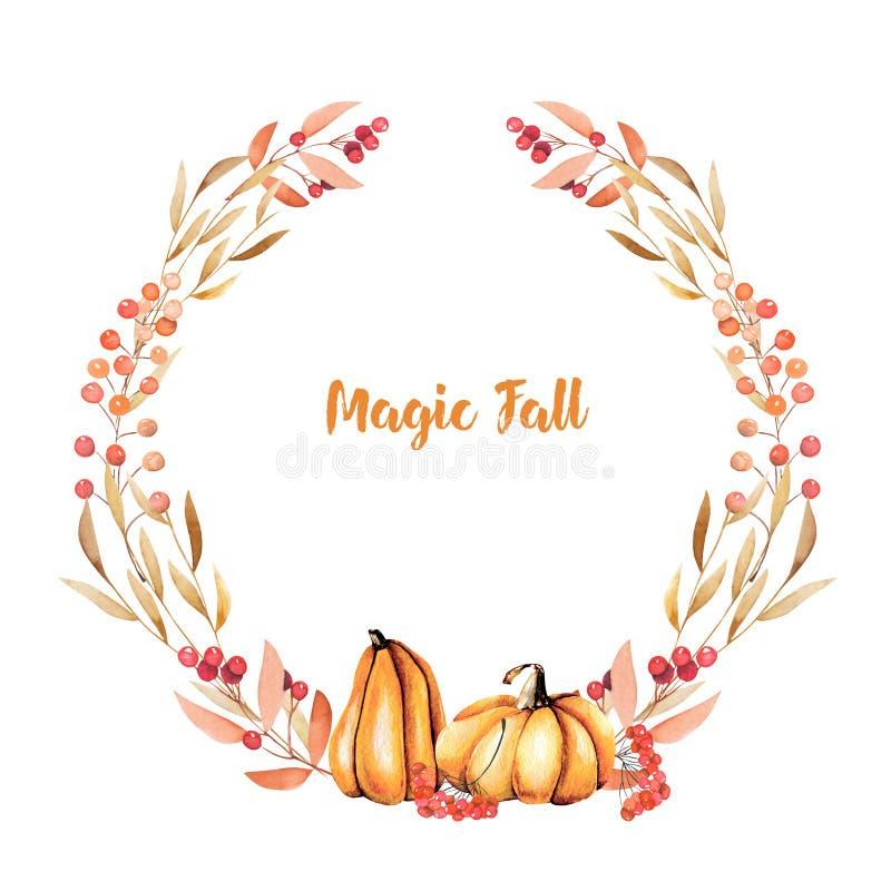 Corona di autunno con le zucche dell'acquerello, i rami di albero, la sorba ed altre bacche royalty illustrazione gratis