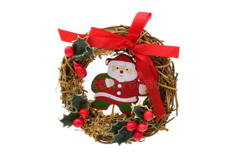 Corona di natale con il Babbo Natale immagini stock libere da diritti