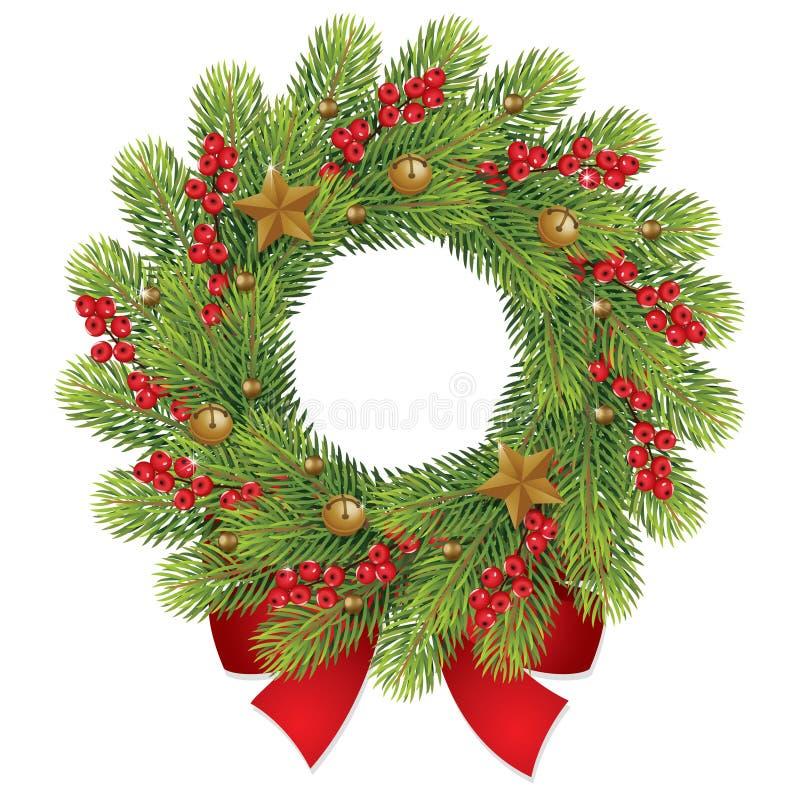 Corona di Natale con la bacca e l'arco rosso illustrazione di stock