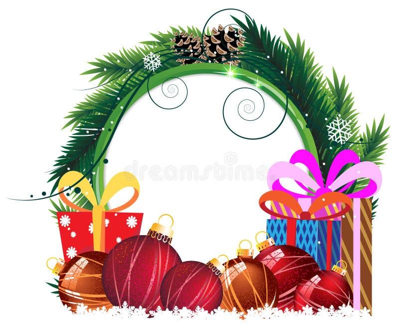 Corona di Natale con le bagattelle ed i contenitori di regalo royalty illustrazione gratis