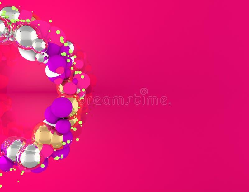 Corona di Natale con le sfere ed il fondo rosa illustrazione vettoriale