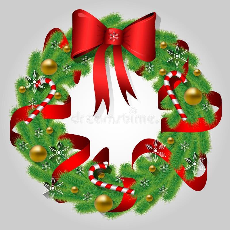 Corona di Natale dei rami dell'abete con un arco, le palle dorate, un nastro rosso, le caramelle ed i fiocchi di neve Invito di n royalty illustrazione gratis