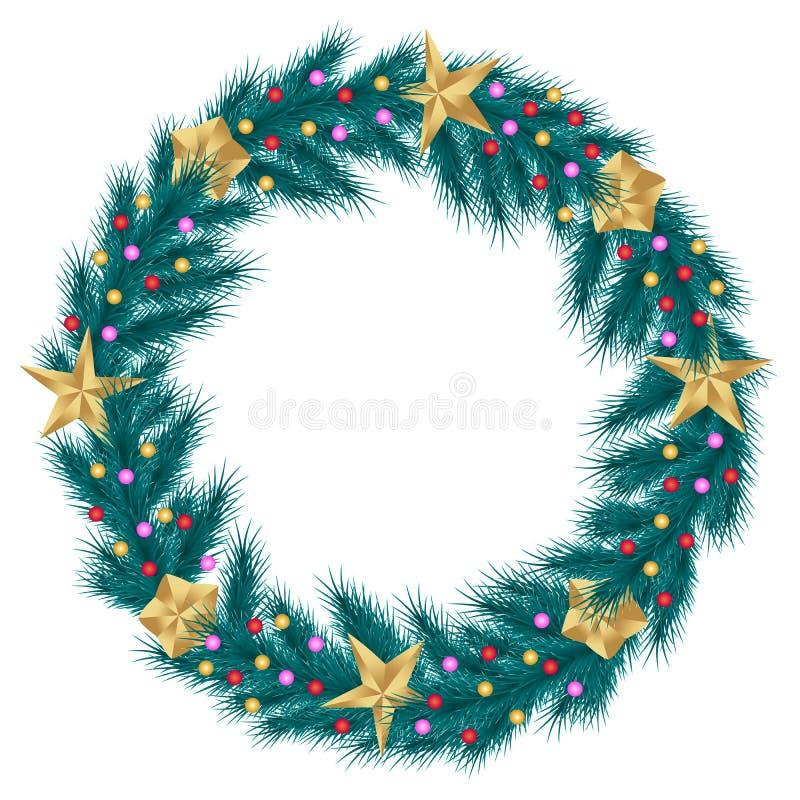 Corona di Natale dei rami realistici dell'abete del pino isolati su fondo bianco, decorato con le stelle e le perle dorate illustrazione di stock