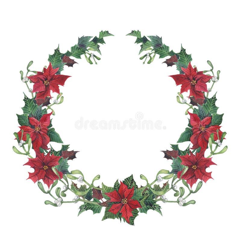 Corona di natale dell'acquerello con agrifoglio, il vischio e la stella di Natale Confine floreale di natale dipinto a mano isola royalty illustrazione gratis