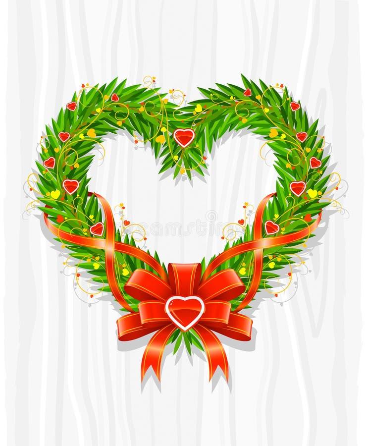 Corona di natale nel modulo di cuore illustrazione vettoriale