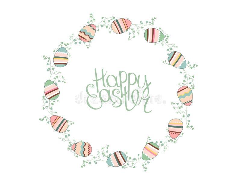 Corona di Pasqua con le uova dipinte stilizzate isolate su bianco illustrazione di stock