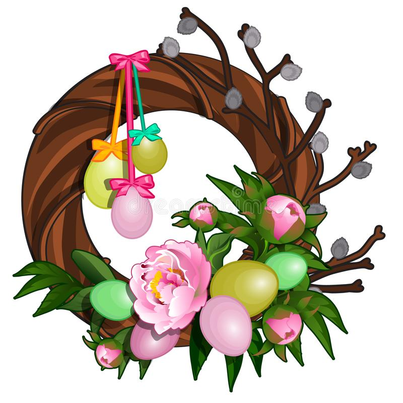 Corona di Pasqua con le uova variopinte e le peonie rosa Simbolo e decorazione per la festa Illustrazione di vettore isolata royalty illustrazione gratis