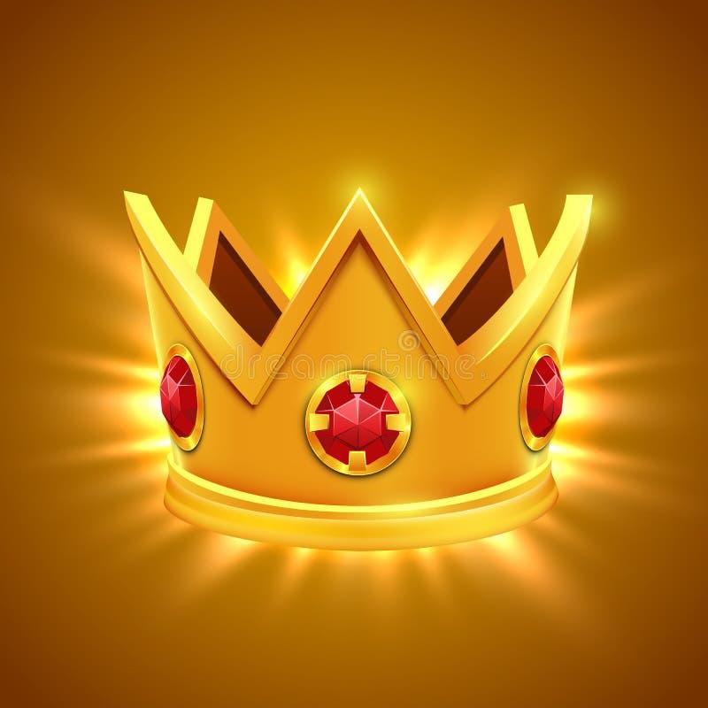 Corona di re dell'oro con i gioielli rossi Illustrazione di vettore royalty illustrazione gratis