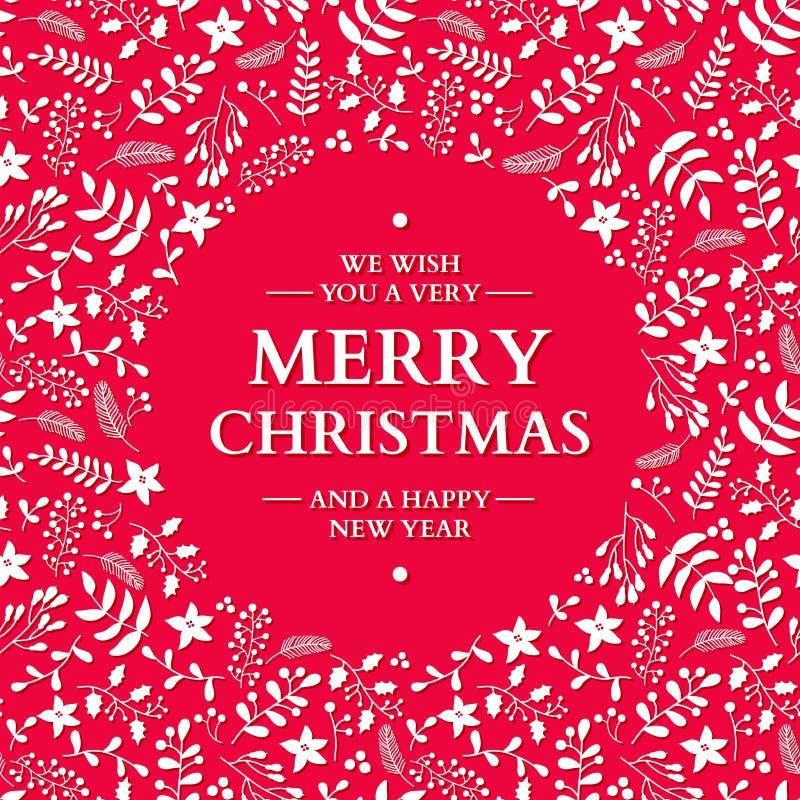 Corona di scarabocchio di Natale con il saluto Scheda di festa di vettore Natale illustrazione di stock