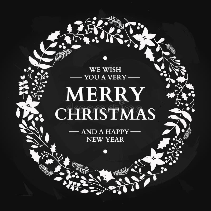 Corona di scarabocchio di Natale con il saluto Scheda di festa di vettore Natale royalty illustrazione gratis