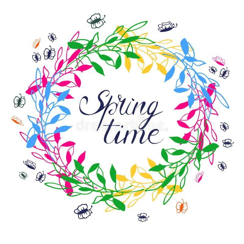 Corona di tempo di primavera illustrazione vettoriale