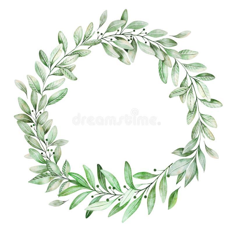 Corona di verde dell'acquerello royalty illustrazione gratis