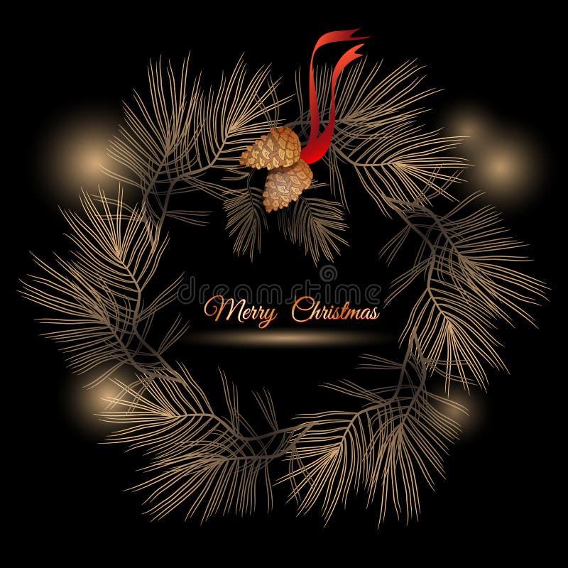 Corona di vettore di Natale con i rami ed i coni del pino illustrazione vettoriale