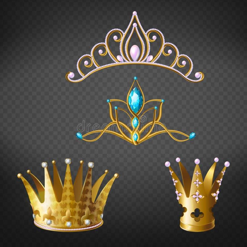 Corona, diadema, diadema dell'oro per principessa, insieme della regina royalty illustrazione gratis