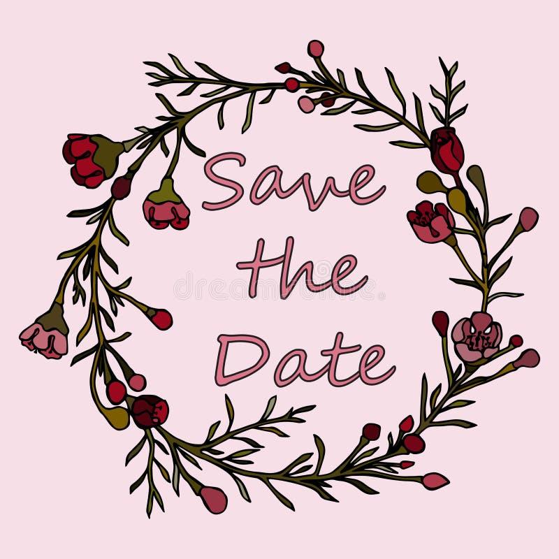 Corona disegnata a mano fatta nel vettore La decorazione unica per la cartolina d'auguri, invito di nozze, conserva la data royalty illustrazione gratis