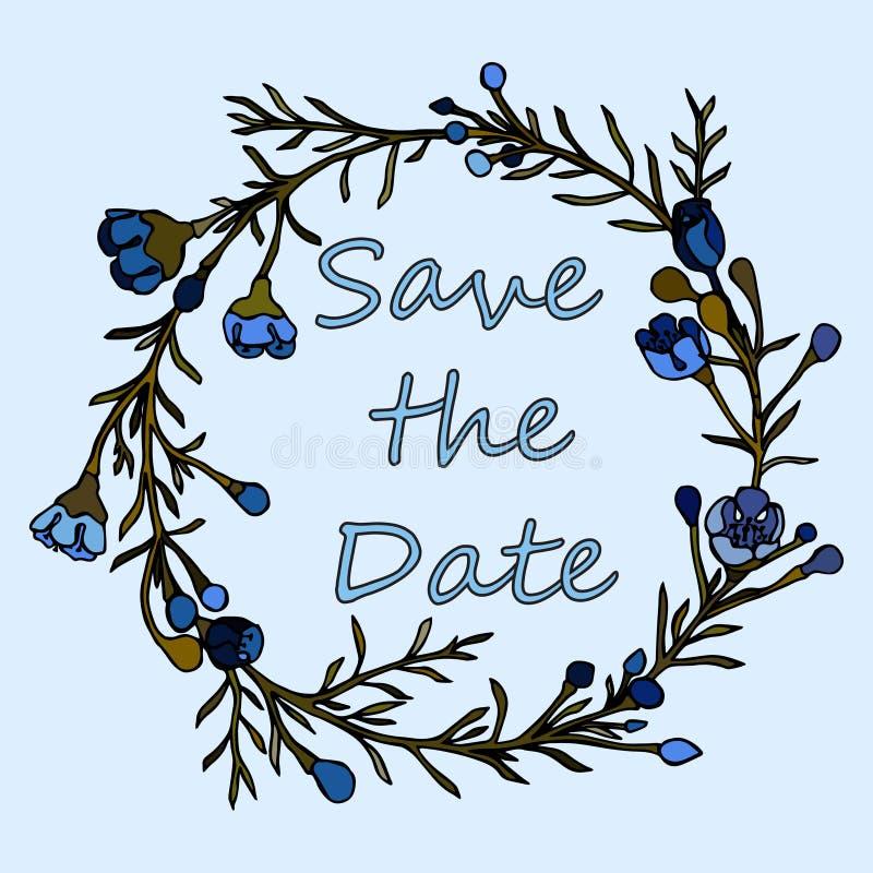 Corona disegnata a mano fatta nel vettore La decorazione unica per la cartolina d'auguri, invito di nozze, conserva la data illustrazione di stock