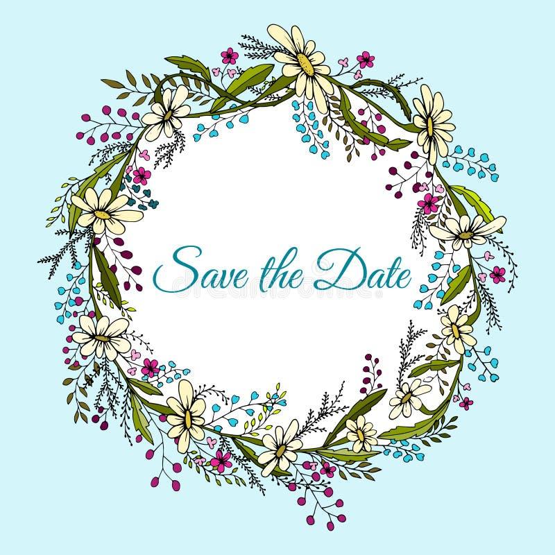 Corona disegnata a mano fatta nel vettore La decorazione unica per la cartolina d'auguri, invito di nozze, conserva la data illustrazione vettoriale
