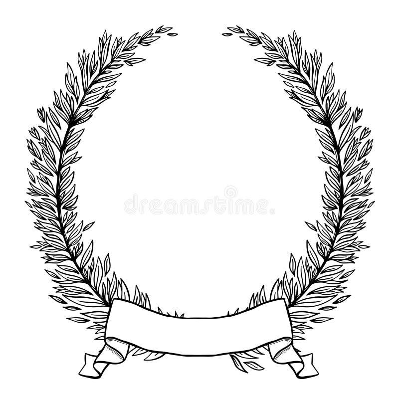 Corona disegnata a mano fatta nel vettore La decorazione unica per la cartolina d'auguri, invito di nozze, conserva la data Natur royalty illustrazione gratis