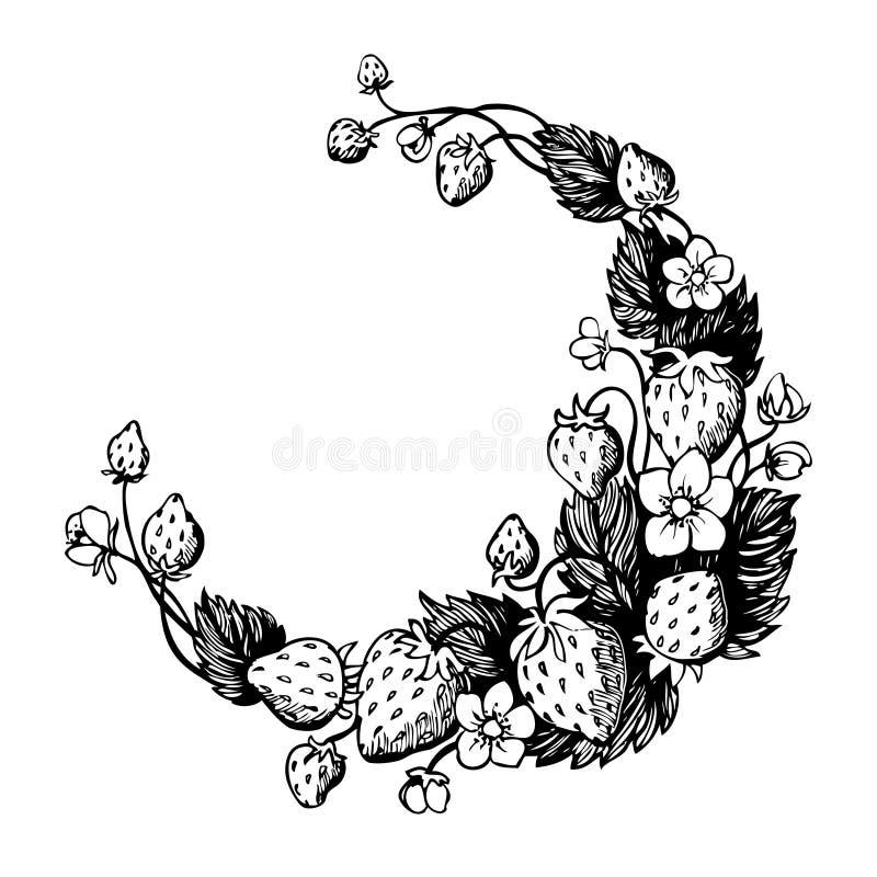 Corona disegnata a mano isolata con la fragola ed i fiori Blocco per grafici rotondo royalty illustrazione gratis