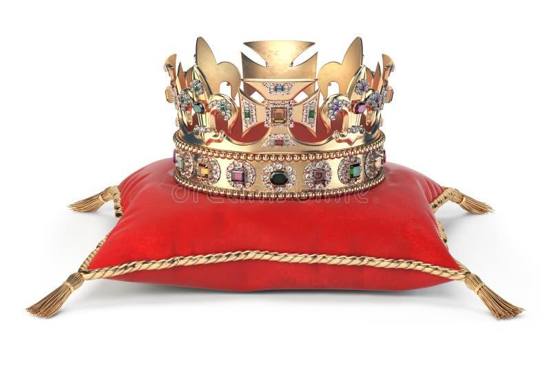 Corona dorata con i gioielli sul cuscino rosso del velluto per incoronazione isolato su bianco illustrazione vettoriale